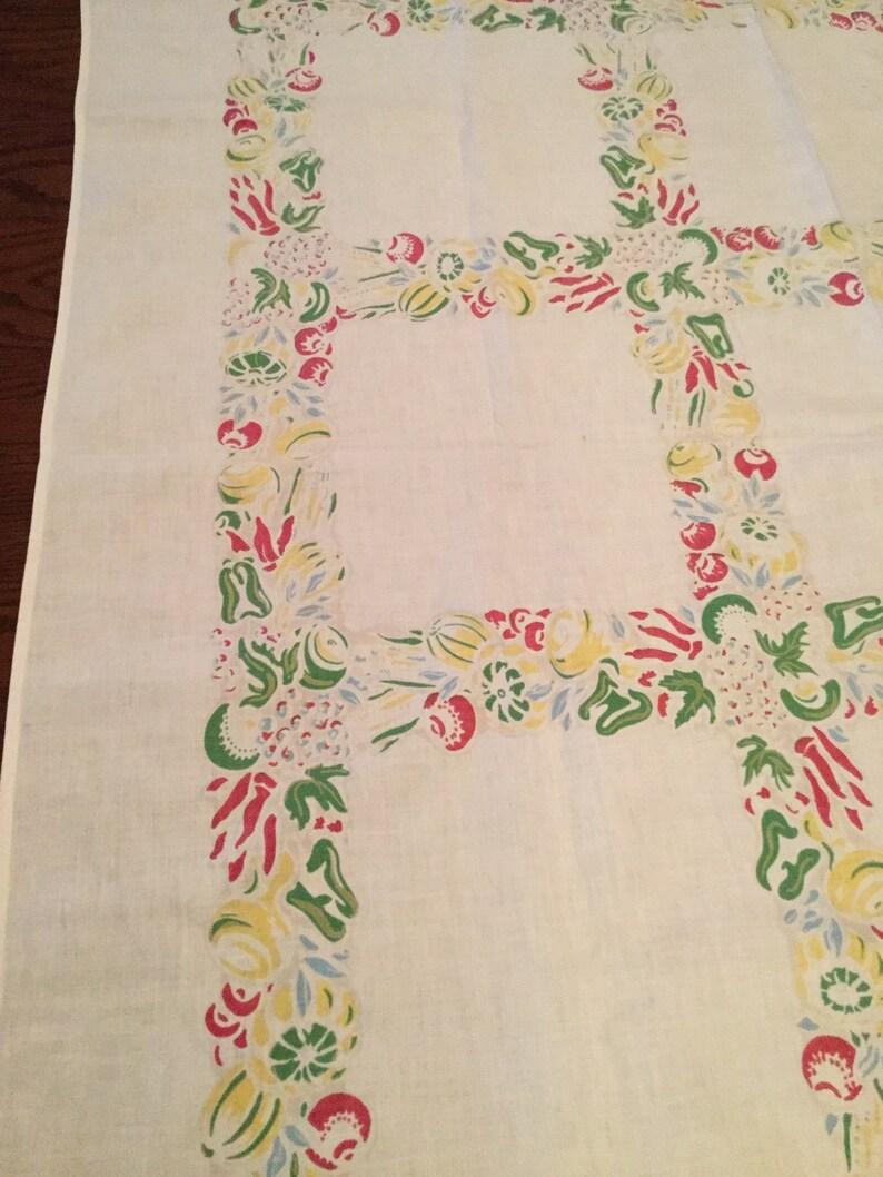 Vintage Muted Color Tablecloth Vintage Table Linen Vintage 52x48 Floral Tablecloth Farmhouse Table Vintage Fruit Vegetable Tablecloth
