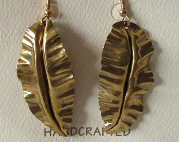 Gold Banana Leaf Earrings, NuGold Earrings, Leaf Earrings, Jewelers Brass Earrings, Banana Leaf Earrings, Gold Earrings, Handmade Earrings