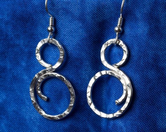 Handmade Hammered Sterling Silver Swirl Earrings