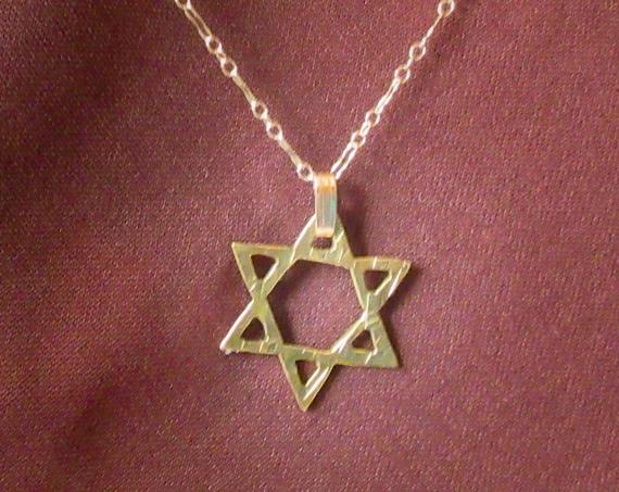 Star of David, Gold Star of David, Jeweler's Brass Star of David, Handmade Star of David, Star of David Pendant, Textured Star of David