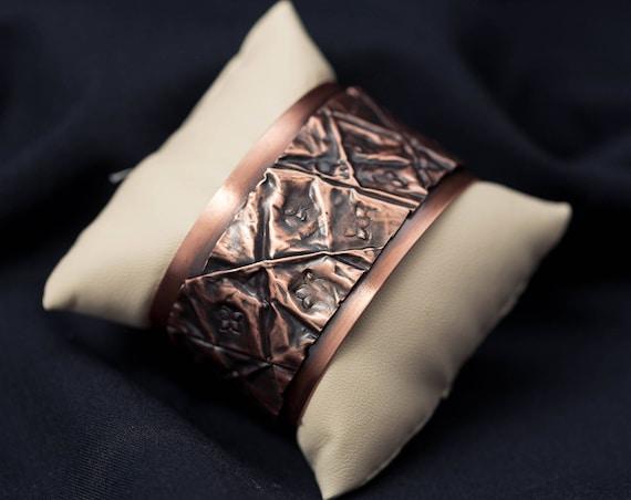 Copper on copper wide cuff bracelet