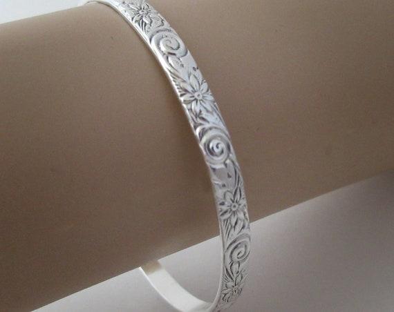 Sterling Silver Bangle Bracelet, Silver Bangle Bracelet, Patterned Bangle Bracelet, Silver Patterned Bracelet, Silver Stacking Bracelet
