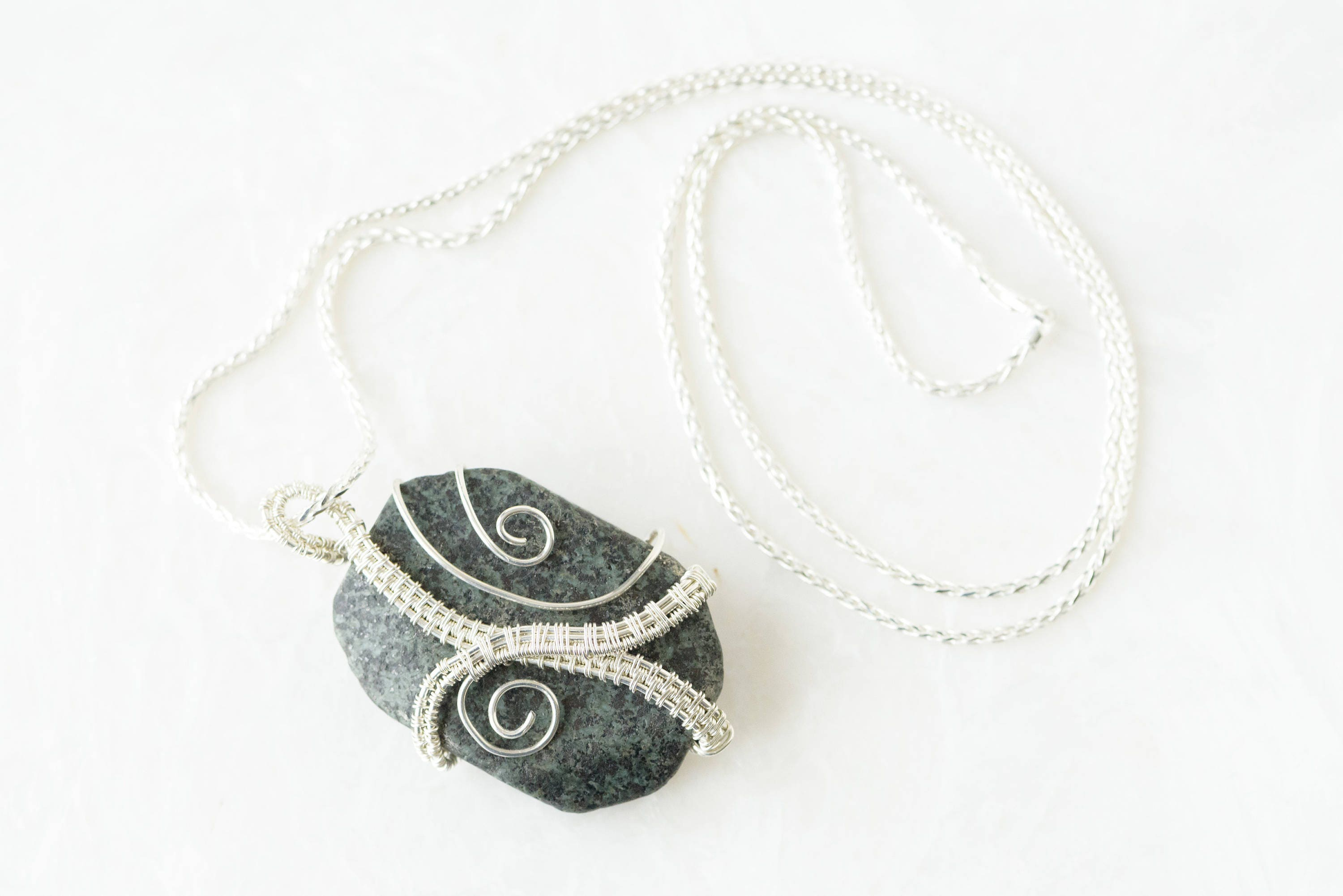 Russian Serpentine necklace wire wrapped with Sterling Silver