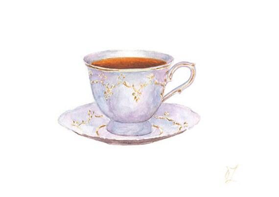 Porcelain Cup Tea Painting Original Watercolor Drink Etsy