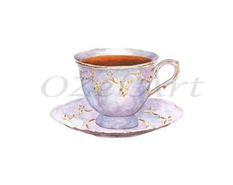 Tea Porcelain Vintage Cup Retro Watercolor Painting Digital Download Art Printable Illustration Home Kitchen Decor Restaurant Cafe Menu Wall