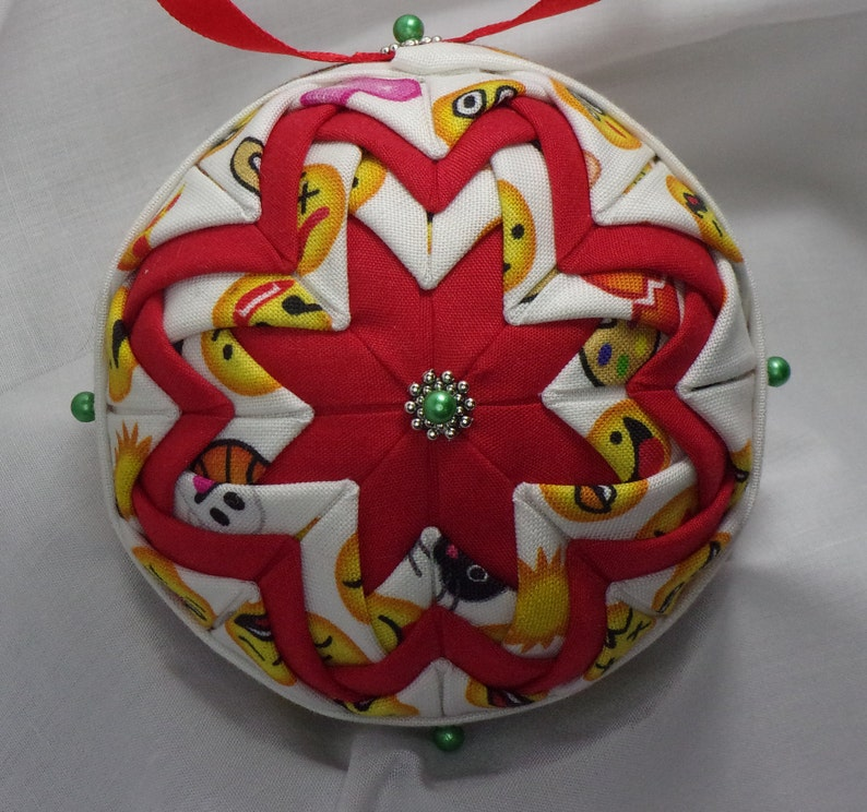 Emoji Quilted Christmas Ornament
