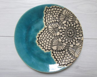 platter for wedding rings blue ceramic plate small turquoise plate ceramic soap holder plate for jewelry etnic plate decorative plate
