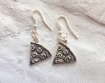 Pizza Slice Earrings, Silver Pizza Earrings, Food Jewelry, Pizza Jewellery, Junk Food Earrings, Pizza Slice.