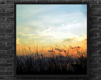 Sunset Photography - Fields Photography - Meadow Photo - Landscape - Nature Photography - Square Photo - Nature Wall Art - Fields Wall Decor