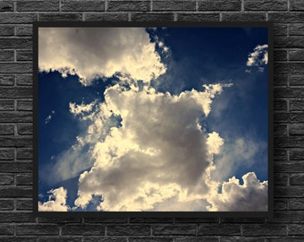 Clouds Photography - Blue Sky Photography - White Clouds - Sky Photo Print - Dreamy Sky Print - Blue White Wall Decor - Kids Room Decor