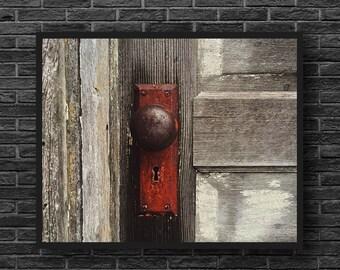 Door Photography - Wooden Door Print - Old Door Photo - Red Grey - Rust Photo - Rust Wall Decor - House Photography - Wooden Wall Decor