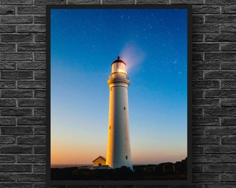 Lighthouse Print - Lighthouse Photo - Coastal Wall Decor - Nautical Photography - Blue Print - Stars - Nautical Wall Decor - Vertical Photo