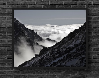 Mountains Black and White - Clouds - Landscape Photo - Mountain Landscape - Mountains Photo - Mountain Wall Art - Black White Wall Decor