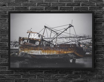 Boat Print - Abandoned Boat Photo - Old Boat Photography - Ruin - Rust Boat Photo Print - Grey Rust - Abandoned Wall Decor - Rust Wall Decor