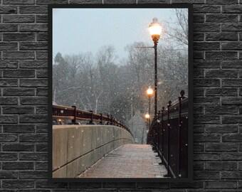 Bridge Photo - Winter Photo - Snow Photo - Road Photo - Vertical - Photography - Winter Wall Art - Nature Wall Decor - Living Room Decor