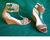 Coach Sandals Gabbie Wedge Ankle Strap Wrap 8 1 2 B Vintage Nude Perforated Leather Butterscotch Spring Summer Sexy Classic