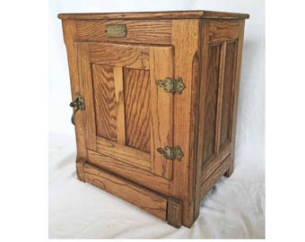 Free Ship Vintage Small Icebox Ice Box Oak White Clad Cabinet Solid Wood  Brass Hardware Fancy Inset Panel Side End Side Table Retro
