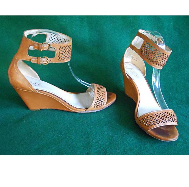 3c97e405b18 Sandal Shoes Coach Gabbie Leather Butterscotch Wedge Ankle