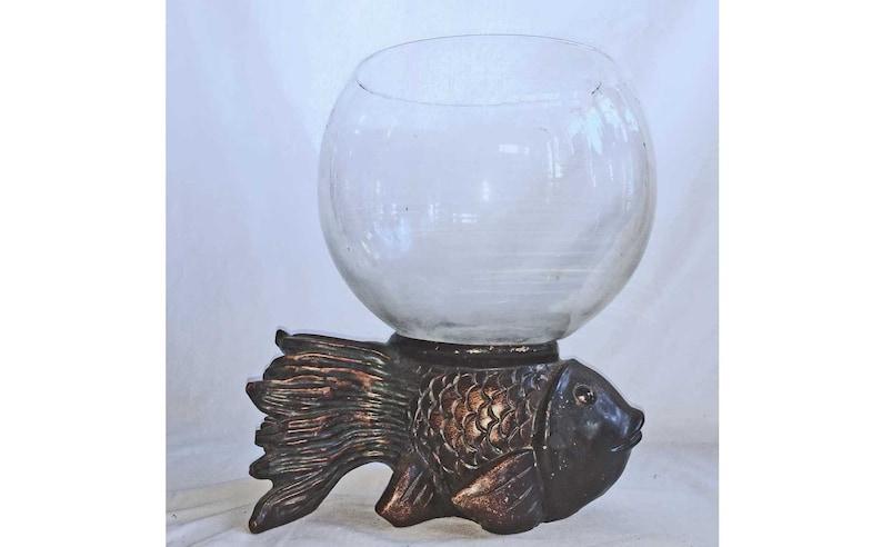 Antique Vintage Small Fish Bowl Aquarium Tank Holder Art Deco Periods & Styles