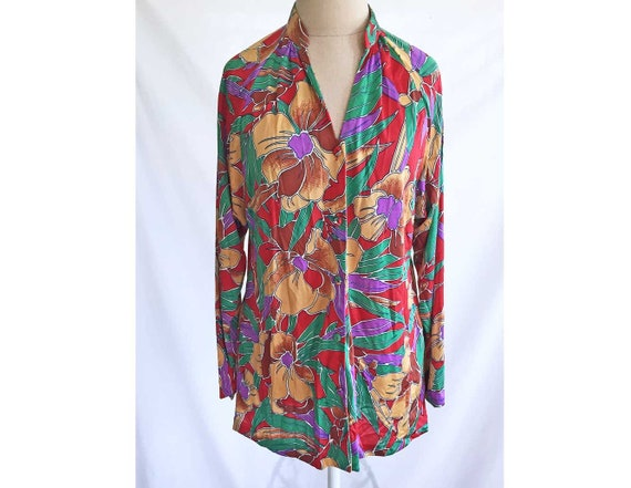 843b641806954b Blouse 80s Vintage Woman Shirt Tori Richard Honolulu Silk