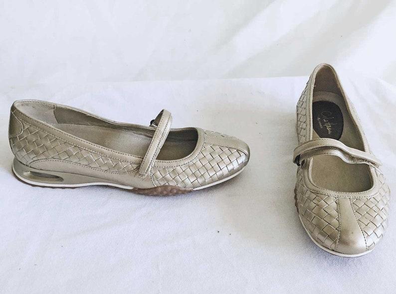 08b3152b3f67 Vintage Dead Stock Cole Haan Silver Metallic Mary Jane Flats