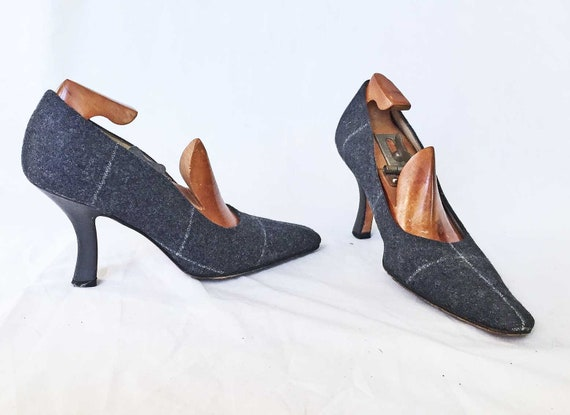 Flanelle grise Vintage Vintage Vintage marque Schwartz 5.5 B talon Concave pompes être la fille dans les chaussures gris flanelle 921d4e