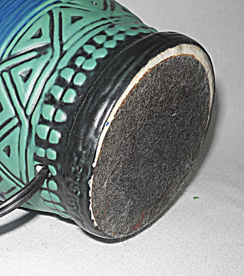 Vintage Electric Table Pottery Lamp Southwest Incised 9 tall Small Blue Green