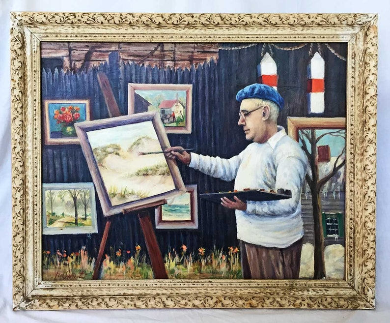 Fred Sargent Self Portrait Artist At Work Easel Paintings Etsy