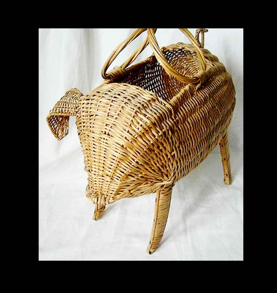 Vintage 50s Wicker Handbag Pig Basket Bag  Tote Fi