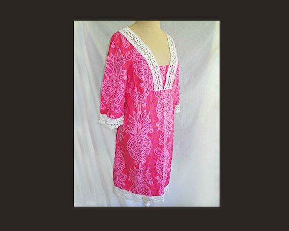 Caftan Lilly Pulitzer Pink Lace Dress Vintage Pine
