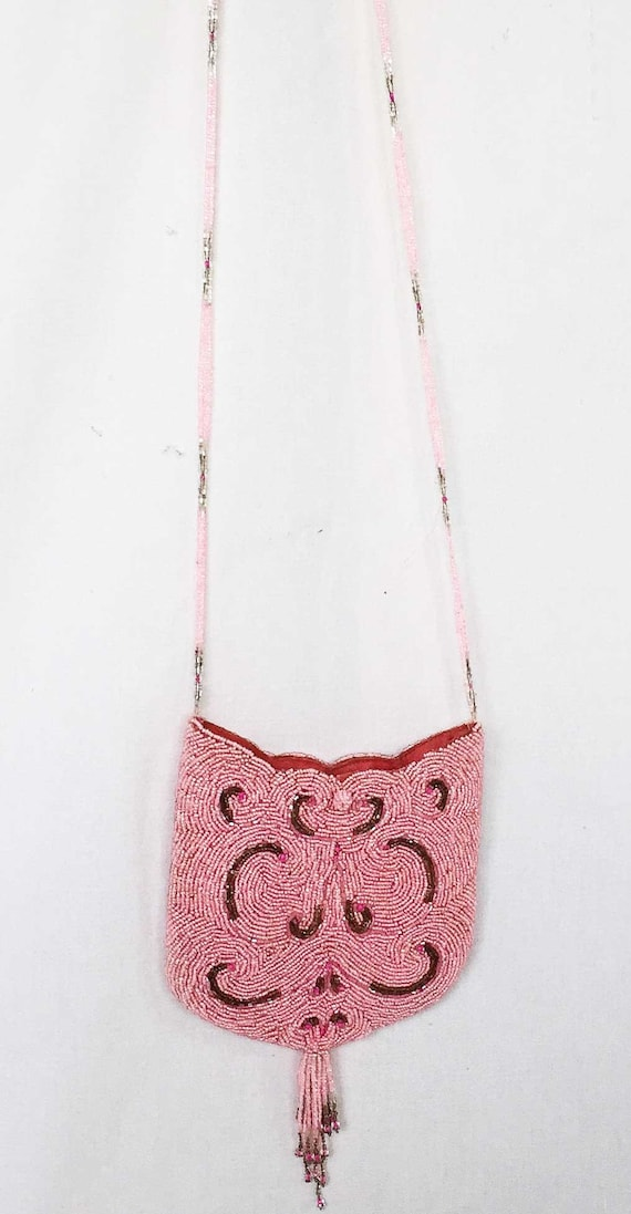 Vintage Beaded Cat Kitty Handbag Purse Cat Face Al