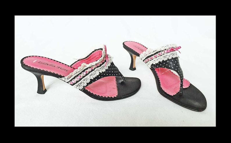 5b4a5754aba Isabella Fiore Naughty French Maid Vintage Mules Thongs Sandals Slippers  Boudoir Shoes Lace Polka Dots Pink Black 7B Italy Retro Glam