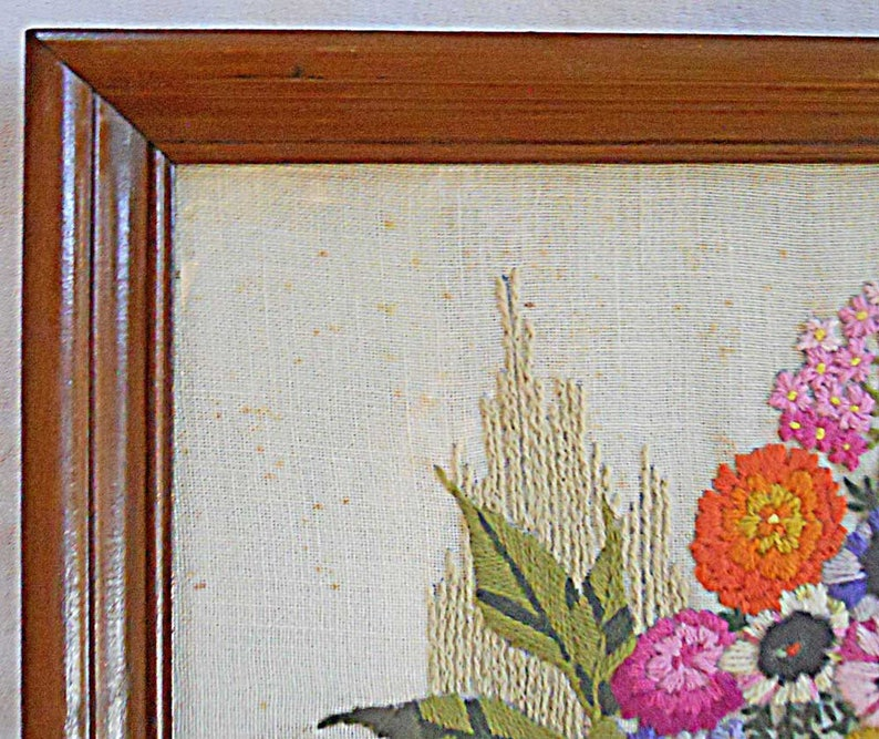 Floral Vintage Crewel Needlework Needlepoint Wild Country Flowers in Farm Wooden Bucket Frame Wall Hanging 18x22 Large Scale Decor