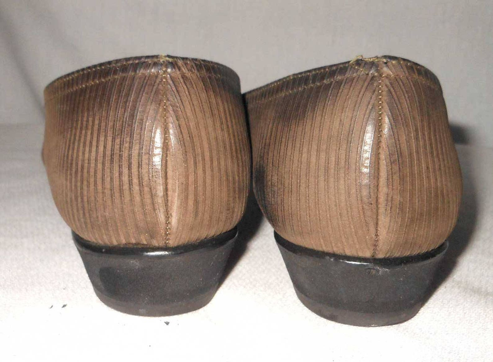 wedge flats salvatore ferragamo pumps ribbed brown leather ballet pointy 9 3a woman shoes
