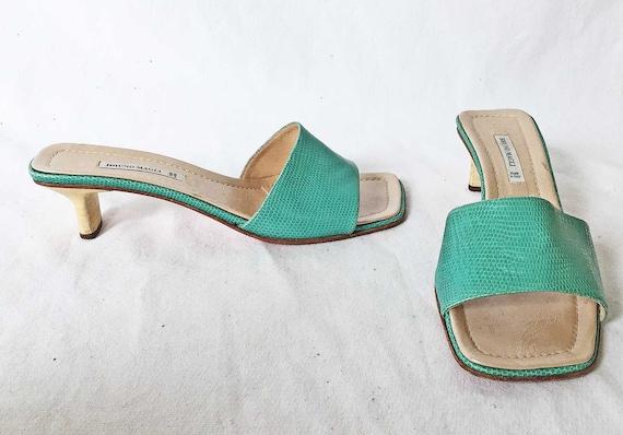 099de130a7c Vintage Bruno Magli Mules Pinched Block Heel Slides Green Sandals 8.5 B  Shoes Snakeskin Effect Color Block Spring Summer Stacked Wood Heel