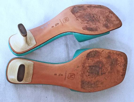 Vintage Bruno Magli  Mules Pinched Block Heel Sli… - image 5