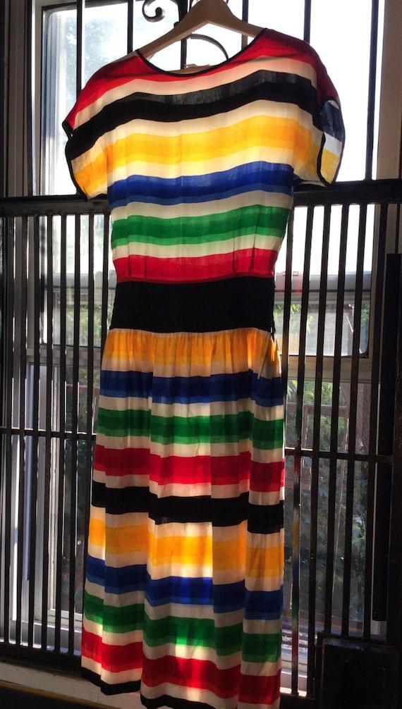 Vintage Silk Striped Dress