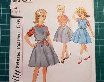 "Vintage Sewing Pattern ~ Simplicity 4784 ~ Girls Skirt, Blouse, and Weskit ~ Size 8, Breast 26"", Waist 23"""