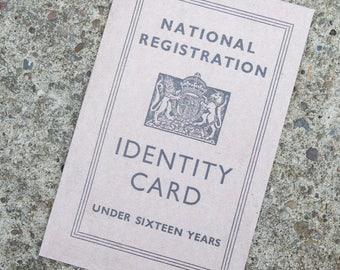 British 1940's WW2 Reproduction Children's Identity Card ~ 1943