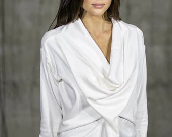 White cotton waterfall shirt | Long sleeve white top with frill front by Silvia Monetti