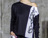 NEW One Shoulder Skull Print Shirt Extravagant Long Sleeve Shirt Asymmetrical Shirt Summer Sports Top by Silvia Monetti