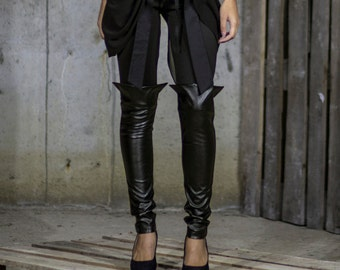 Black Leather Boot Leggings   Long Tight Pants   Smart Casual Black Pants   Long Slim Pants by Silvia Monetti