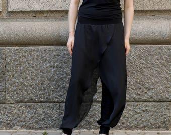 NEW Black Loose Chiffon Trousers   Extravagant Pants   Elegant Trousers with Chiffon Wraps by Silvia Monetti