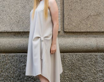 White asymmetric bunched up midi dress   High low dress   Dress with hoops by Silvia Monetti