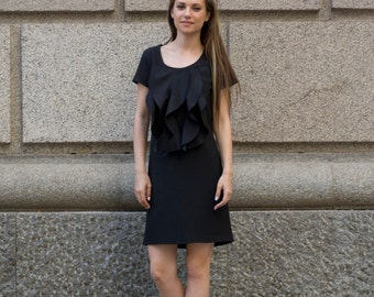 Short Sleeve Shift Day and Evening Dress   Scoop Neck Bell Dress   Ruffle Front Dress by Silvia Monetti