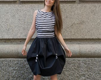 Contrast black and white bell dress   Open back sleeveless dress with bell black skirt by Silvia Monetti