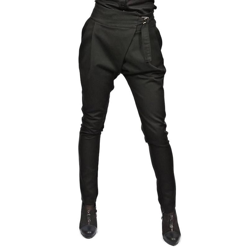 NEW Black Drop Crotch Harem Trousers  Extravagant Pants  image 0