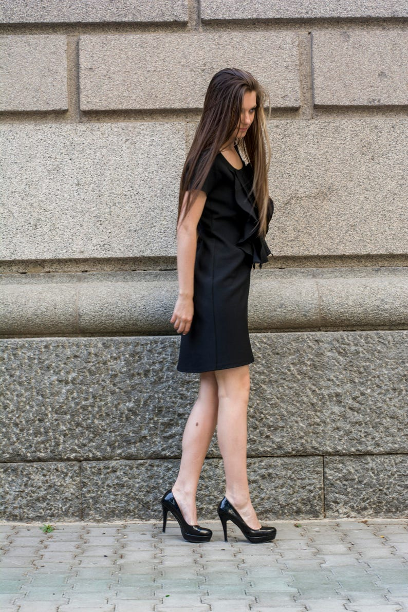Ruffle Front Dress by Silvia Monetti Scoop Neck Bell Dress Short Sleeve Shift Day and Evening Dress