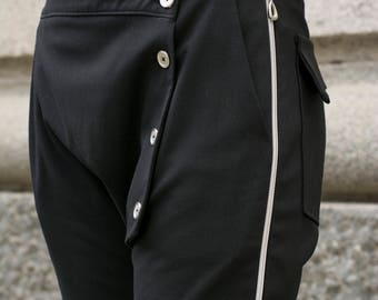 Zipper and button black above the knee trousers   Wrapover capris   Zip up on the side pants by Silvia Monetti