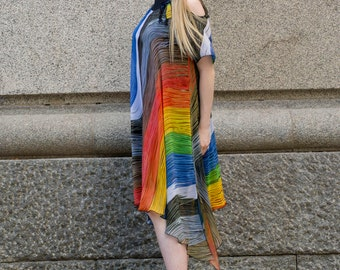 Rainbow midi flowy dress   Colorful above the knee dress   Flowing midi dress in milticolor by Silvia Monetti